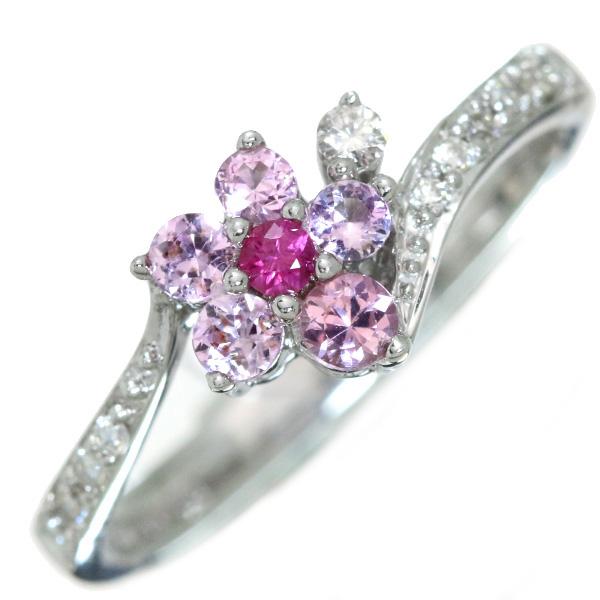 【10%OFFクーポン対象&P2倍】ピンクサファイヤ リング/指輪 0.350カラット 18金ホワイトゴールド K18WG 桜のような雰囲気 /桃(ピンク)/【中古】/届5/ラックジュエル luckjewel/1点もの