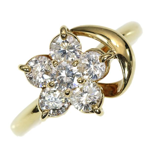 【10%OFFクーポン対象&P2倍】ダイヤモンド リング/指輪 1.0カラット 18金イエローゴールド K18 大粒ダイヤが描くフラワー /白・透明(ホワイト)/【中古】/届5/ラックジュエル luckjewel/1点もの