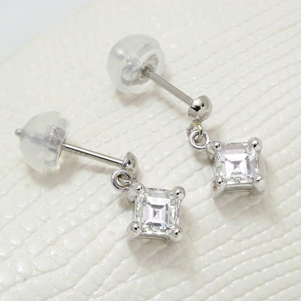 ダイヤモンド ピアス0.651カラット プラチナ900 PT900 美しい角ダイヤ 一粒 揺れる (イヤリング加工可能) /白・透明(ホワイト)/アウトレット・新品/届10/ラックジュエル luckjewel/1点もの