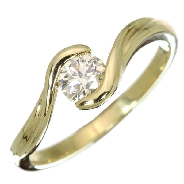 ダイヤモンド リング/指輪 0.40カラット 18金イエローゴールド K18 一粒ダイヤ 大粒 /白・透明(ホワイト)/【中古】/届5/ラックジュエル luckjewel/1点もの