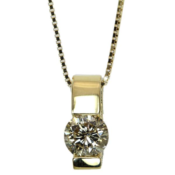 【クーポンで最大30%OFF!】ブラウンカラー ダイヤモンド ネックレス 1.050カラット 18金イエローゴールド K18 大粒ダイヤプチ 1カラット /茶(ブラウン)/アウトレット・新品/届10/ラックジュエル luckjewel/1点もの
