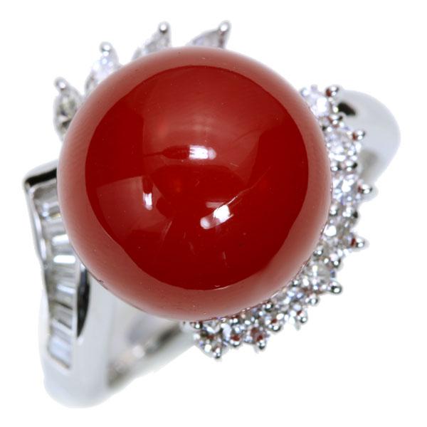 血赤色 丸珠 サンゴ/珊瑚 リング/指輪 12.7mm位 プラチナ900 PT900 一生もの 貫録の大珠 鑑別書付 /赤(レッド)/アウトレット・新品/届10/ラックジュエル luckjewel/1点もの