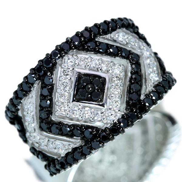 ブラックダイヤモンド リング/指輪 0.70カラット 18金ホワイトゴールド K18WG 幅広 モノトーン /黒(ブラック)/アウトレット・新品/届10/ラックジュエル luckjewel/1点もの
