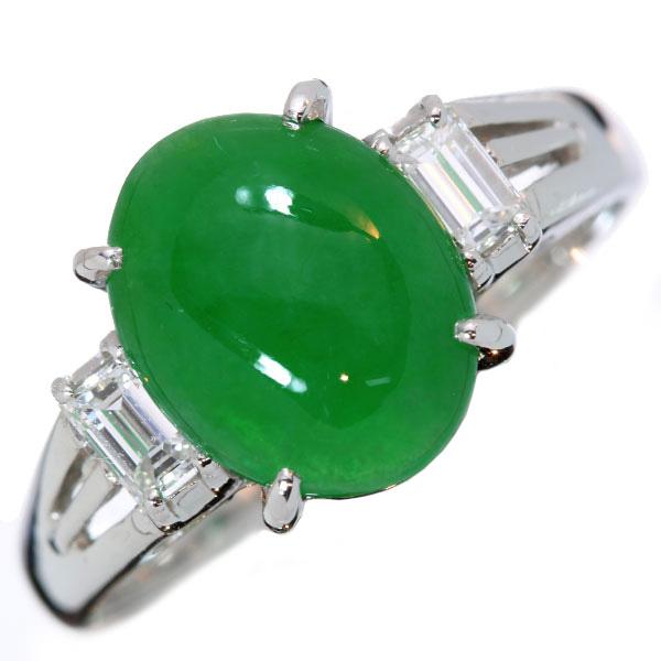 【10%OFFクーポン対象&P2倍】ヒスイ/翡翠 リング/指輪 2.620カラット プラチナ900 PT900 両サイドに角ダイヤがそびえる 鑑別書付 /緑(グリーン)/【中古】/届5/ラックジュエル luckjewel/1点もの