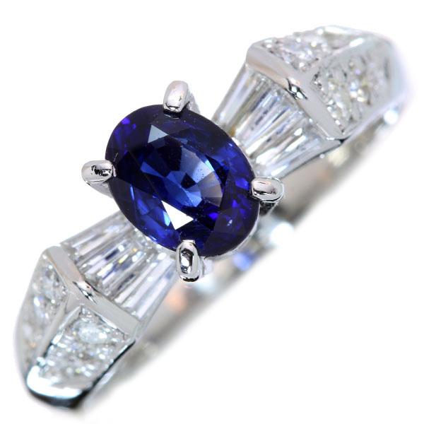 【クーポンで最大30%OFF!】サファイヤ リング/指輪 0.985カラット プラチナ900 PT900 上質の青 両サイドにそびえるダイヤ 鑑別書付 /青(ブルー)/【中古】/届5/ラックジュエル luckjewel/1点もの