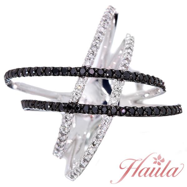 【10%OFFクーポン対象&P2倍】ブラックダイヤモンド リング/指輪 0.40カラット プラチナ900 PT900 モノトーンで描くクロスライン セレクトジュエリー・新品/届10/1点もの