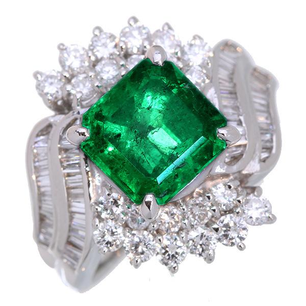 【クーポンで最大30%OFF!】エメラルド リング/指輪 2.770カラット プラチナ900 PT900 高い透明度と照り 豪華ダイヤ取り巻き /緑(グリーン)/【中古】/届5/ラックジュエル luckjewel/1点もの