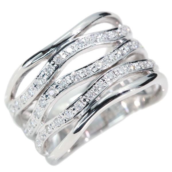 ダイアモンド 4月誕生石 リング 幅広ボリューム 指輪 送料無料 ダイヤモンド 0.320カラット プラチナ900 PT900 5連の曲線 幅広 届10 ホワイト 透明 luckjewel 1点もの 肉厚 白 貫録 ラックジュエル 新品 アウトレット 新作送料無料 新作