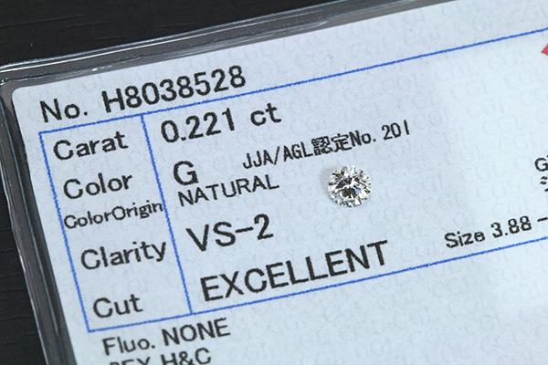 ダイヤモンド 0.221カラット ルース loose G VS2 3EXCELLENT H&C ソーティング付 /白・透明(ホワイト)/ダイヤモンドルース/リフォーム エンゲージ 空枠/