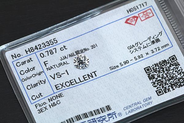 【P2倍】ダイヤモンド 0.787カラット ルース loose F VS1 3EXCELLENT H&C ソーティング付 /白・透明(ホワイト)/ダイヤモンドルース/リフォーム エンゲージ 空枠/