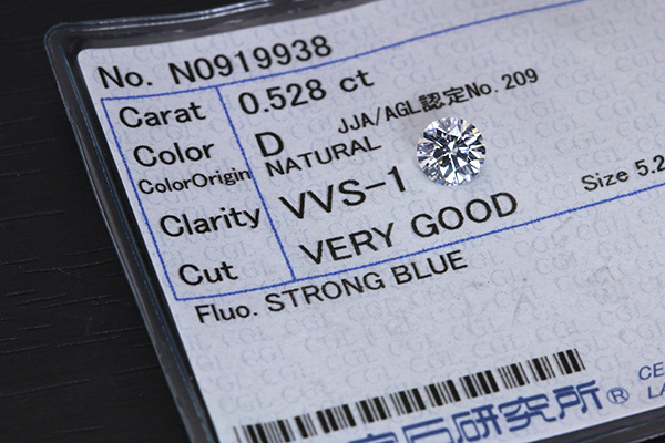 【P2倍】ダイヤモンド 0.528カラット ルース loose D VVS1 VERY GOOD ソーティング付 /白・透明(ホワイト)/ダイヤモンドルース/届10/リフォーム エンゲージ 空枠/