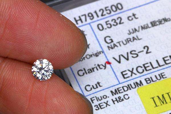 【P2倍】ダイヤモンド 0.532カラット ルース loose G VVS2 EXCELLENT H&C 鑑定書付 /白・透明(ホワイト)/ダイヤモンドルース/届10/リフォーム エンゲージ 空枠/