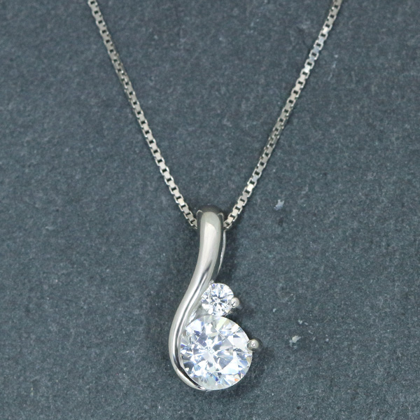 ダイヤモンド(空枠) 0.3ct用 ペンダントトップ枠 K18 PG WG 18金 PT900 上品な曲線 輝くダイヤ一粒 /白・透明(ホワイト)/リフォーム/1年保証/ラックジュエル luckjewel/