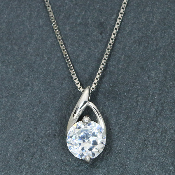 ダイヤモンド(空枠) 0.3、0.5 (±0.05ct可)ct用 ペンダントトップ枠 K18 PG WG 18金 PT900 曲線美のシンプルプチ /白・透明(ホワイト)/リフォーム/1年保証/ラックジュエル luckjewel/