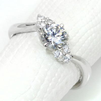 【P2倍】ダイヤモンド(空枠) 0.3、0.5 (±0.05ct可)ct用 リング 指輪 枠 K18 PG WG 18金(※プラチナPT追加料金で対応可) 6本爪 脇ダイヤ ひねり リフォーム/1年保証/ラックジュエル luckjewel/
