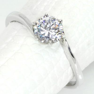 【P2倍】ダイヤモンド(空枠) 0.3 (±0.05ct可)ct用 リング 指輪 枠 K18 PG WG 18金(※プラチナPT追加料金で対応可) 定番 6本爪 ひねり リフォーム/1年保証/ラックジュエル luckjewel/
