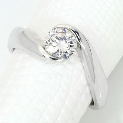 【P2倍】ダイヤモンド(空枠) 0.4~0.5(±0.05ct可)ct用 リング 指輪 枠 K18 PG WG 18金(※プラチナPT追加料金で対応可) シンプル ひねり 肉厚 普段使い リフォーム/1年保証/ラックジュエル luckjewel/
