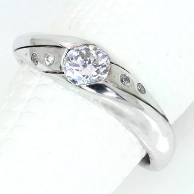 ダイヤモンド(空枠) 0.40 (±0.05ct可)ct用 リング 指輪 枠 K18 PG WG 18金(※プラチナPT追加料金で対応可) ひねり ドッツ埋め込み 肉厚 リフォーム/1年保証/ラックジュエル luckjewel/