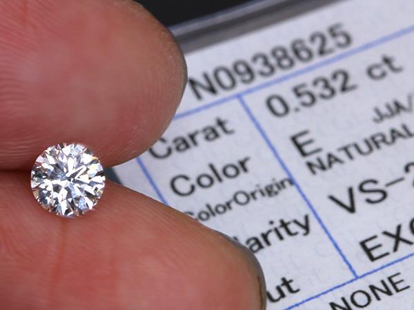 ダイヤモンド 0.532カラット ルース loose E VS2 EXCELLENT ソーティング付 /白・透明(ホワイト)/ダイヤモンドルース/届10/リフォーム エンゲージ 空枠/