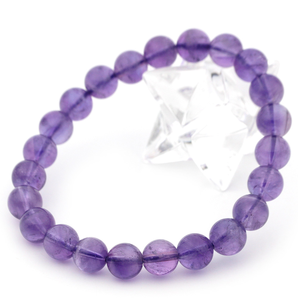 <純天然AAAAA級 アメジスト(紫水晶)>一連ブレスレット 玉径8mm 10061732パワーストーン 天然石 【コンビニ受取対応商品】【12/19~26 50%OFFクーポン配布中】