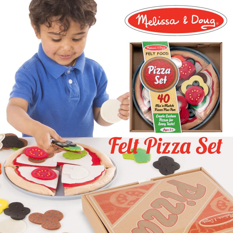 ポップなデザインが可愛いままごとセット 誕生日プレゼント ギフトに メリッサ ダグ オンライン限定商品 Melissa Doug おもちゃ MD3974 フェルトピザセット 出色 知育玩具 J039065 ままごと