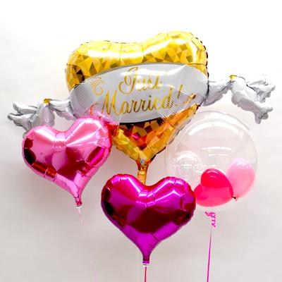 二匹のはとが二人のウェディングを祝福してくれます ウェディング セール商品 百貨店 バルーン電報 結婚式 プレゼント バルーン サプライズ Balloon Party ジャストマリッジハートSPハートST ギフト お祝い 風船 パーティー