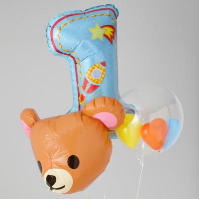 バースデー プレゼント バルーン サプライズ ギフト パーティー Birthday Balloon Party 風船 誕生日 誕生会 お祝い くまちゃん 1st バースデー SPST (ブルー)