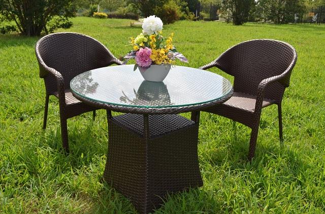 ガーデンファニチャー ラタン調 テーブル チェア 3点セット set361
