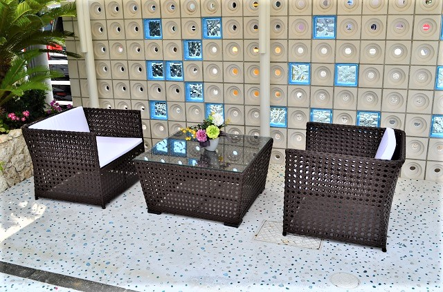 ガーデンファニチャー ラタン調 テーブル ソファ 3点セット set373