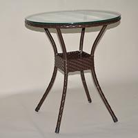 ラタン テーブル ラタン調 人気 オリジナル デザイン 組み立て不要 【軽量ラタン調テーブル屋内外使用可】60cm円形テーブル チョコ ラタン家具 ラタンテーブル 組み立て不要