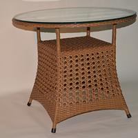 【軽量ラタン調テーブル屋内外使用可】ラウンドテーブル ブラウンorホワイト