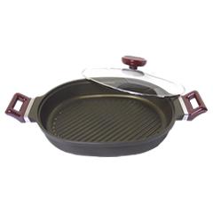 ナカノ商店/Nakano オーバルクッカー IH対応 (日本製・電磁調理器対応・アルミ鋳物・アルミ鍋・両手鍋・楕円鍋・ナカノの本格厚鍋)