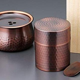鉄の5倍 『4年保証』 ステンレスの25倍もの熱伝導率の良さを誇る銅の茶器 出群 食楽工房 茶筒 建水セット 日本製 銅製茶器 CB520 a