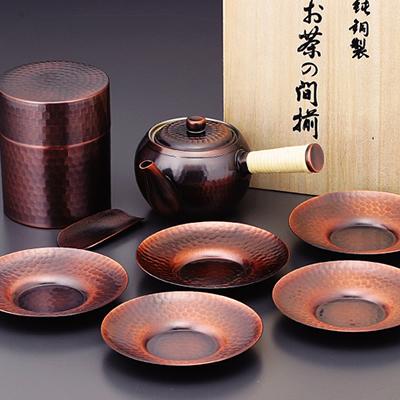 食楽工房 急須・茶筒・茶托セット CB524 (日本製・銅製茶器)[a]