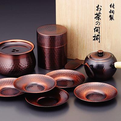 食楽工房 急須・茶筒・建水・茶托セット CB525 (日本製・銅製茶器)[a]