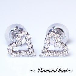 K18ダイヤモンドハートピアス0.16ct-- 眩いばかりの輝いを放つダイヤモンド本来の光--大人気御礼【送料無料】【18金】【18k】【ゴールド】【楽ギフ_メッセ】【0824カード分割】