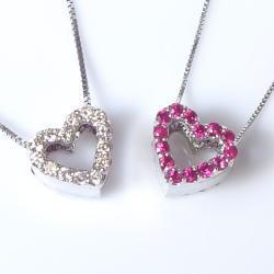 K18ハートダイヤモンドペンダントネックレス--0.16ct高品質天然ダイヤモンド--ブリリアントカットスタールビー『リバーシブル』【送料無料】【18金】【18k】【ゴールド】【楽ギフ_メッセ】