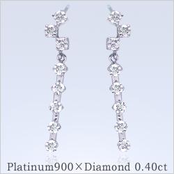 【プラチナ】ダイヤモンド0.40ct[SIクラスF~Dカラー無色透明]『La Luisante 16diamond』スウィングピアス--最高級の眩いばかりの輝きを放つ天然ダイヤモンド本来の光--【送料無料】【楽ギフ_メッセ】【0824カード分割】