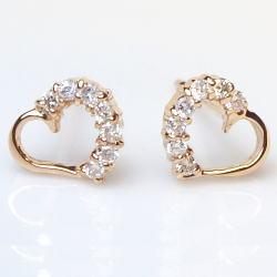 K18 ダイヤモンドハートピアス計0.1ct『Heart』18透明感溢れるダイヤモンド記念日 誕生日 ハート ゴールド ピンクゴールド【送料無料】【楽ギフ_メッセ】【0824カード分割】
