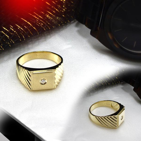 K18 ゴールドダイヤモンド メンズリング【Mens】0.05c[Color:F~D/Clarity:SIクラス/GOOD~VERYGOOD]【送料無料】【SALE】【半額】【楽ギフ_メッセ】【0824カード分割】