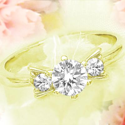 """K18 丝带钻石戒指 (戒指)""""玛丽亚""""0.5 ct-0.58 ct 丝带""""玛丽亚""""环 (环)"""
