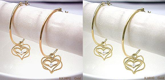 【即日発送】K18ダイヤモンド フープピアス スウィング ハートフープピアス『ダブルハート』0.06ct[SIクラスF~Dカラー無色透明]『W』 Heart Swing --Elegant Style--【送料無料】【18金】【18k】【ゴールド】【楽ギフ_メッセ】