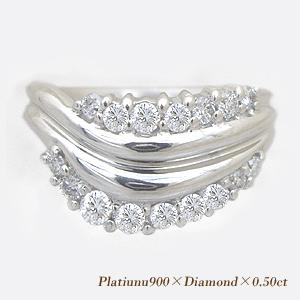 pt900 pt950 0.5ctダイヤモンド ピンキーリング(指輪)『ライン』『Line』[無色透明F~Dカラー/VS~SIクラス] 【送料無料】【%OFF】【SALE】【半額】【楽ギフ_メッセ】【0824カード分割】