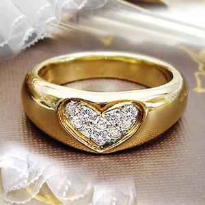 K18ゴールド 0.15ctダイヤモンドハートパヴェリング『Heartin』0.15カラット[SIクラス/H~Gカラー/GOOD~VERYGOOD]【送料無料】【%OFF】【楽ギフ_メッセ】【0824カード分割】