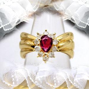 K18ゴールド【0.3ct】ダイヤモンドリング『Plaisir』0.30カラット[I-1~SI-2]ペアシェイプ/オーバル/ツユ-ルビー/エメラルド/サファイア-【送料無料】【18金】【ゴールド】【楽ギフ_メッセ】【カラーストーン】