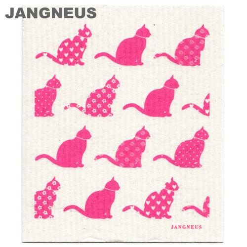 北欧スポンジワイプ ヤングネウス キャット ピンク JANGNEUS(布巾ふきん 結婚祝い出産祝い内祝いプレゼントギフト)引越し 挨拶 粗品洗剤との相性抜群ディッシュクロスdishcloth キャッツねこ猫ぬこ
