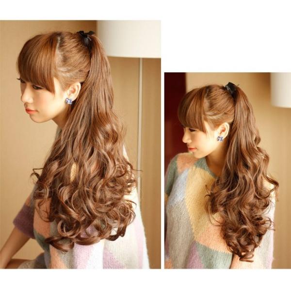 SALE【ポニーテールボリュームアップウィッグふんわりロング高品質ふわふわ巻き髪】カールポイント