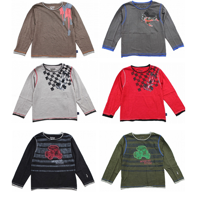 Pattern fun three pieces set long sleeves cut-and-sew Ron T-shirt kids boy 95 100 110 120 130cm
