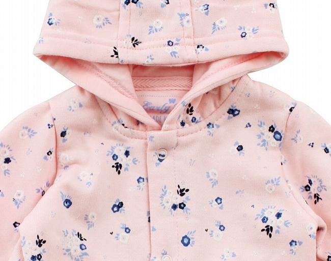 带帽工作服回的早期婴儿衣服刷女孩粉红色 & 花卉图案 0-3 3-6 m m 6-9 米
