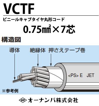 【オーナンバ】ビニルキャブタイヤ丸形コード(VCTFケーブル)VCTF 0.75㎟×7芯 100m